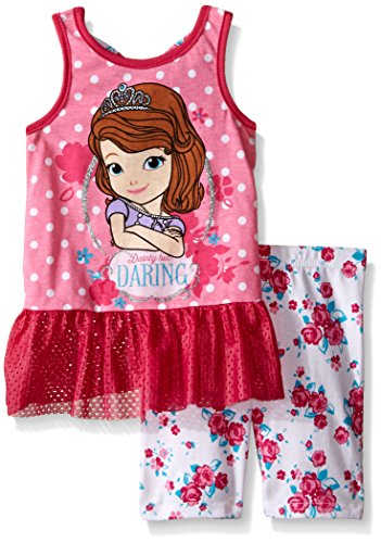 Disney Little Girls 2 Piece Sofia The First Tank and Bike Short Set, Fuchsia, 2T (Sofia The First Clothes compare prices)