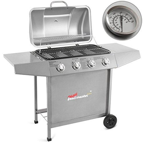 Broil-master Barbecue grill griglia giardino barbecue griglia a gas con 4 bruciatori principali nel colore argento