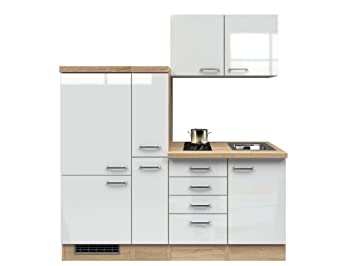 Singlekuche 190 cm Hochglanz Weiß mit Demi Apothekerschrank & Glaskeramikkochfeld - Valencia