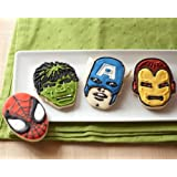 Marvel Comics Hero Cookie Cutters- The Incredible Hulk, Captain America, Spider-Man and Iron Man