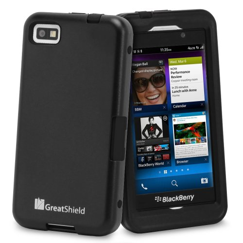 GreatShield TUFF Series Dual Layer Hybrid Kickstand Case with Swivel Belt-Clip and Holster for Blackberry Z10 (Black & Black)
