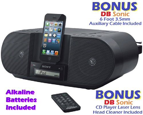 Sony Ipod & Iphone 8 Pin Lightning Connector Docking Station Cd Player And Digital Am Fm Radio Stereo Speaker System With 30 Station Presets, Wireless Remote Control, Flexible Dock Connector, Sleep Timer, Portable Battery Option & Auxiliary Input To Conne