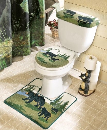 Northwoods Bathroom Bear Toilet Commode & Rug Set By