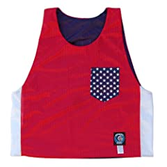 USA American Flag Pocket Reversible Lacrosse Pinnie