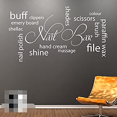 Nail Bar Collage Wall Art Picture Vinyl Sticker - Hair Beauty Salon