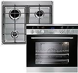 European domino cooktops Multifunktions-Elektroeinbauherd EHG 3020 mit Design Knebeln + Gas Kochfeld EMS4, Edelstahl, für Erdgas