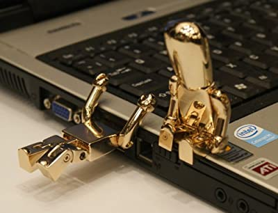 Gold Robot USB Memory Stick 2GB - Flash Drive/School/Novelty/Gift by Memory Mates