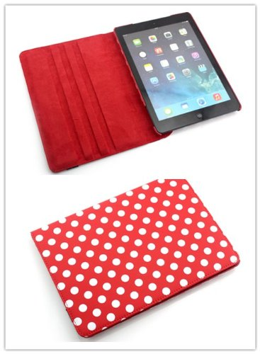 Big Dragonfly New Fashion 360 Degree Rotating Pu Leather Folio Book Case Cover With & Stand & Hand Strap For Ipad Air/ Ipad 5 (White Polka Dots And Red Pattern)
