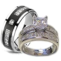 His & Her 3 Piece Wedding Ring Set Wh…