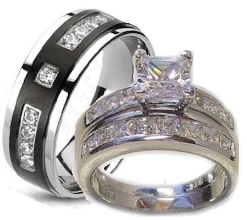 His & Her 3 Piece Wedding Ring Set White Gold Ep Sterling Silver and Titanium (Womens 5-11)(mens 7-13) Please Email Us the Sizes That You Need After the Sale.
