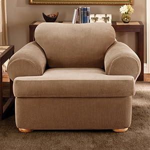 Amazon.com: Sure Fit Matelasse Damask 1-Piece T-Cushion ...  |Amazon Sure Fit Slipcovers