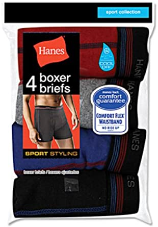 Hanes 4-Pack Sport Styling Boxer Brief 2396P4 S/Assorted