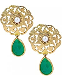 The Jewelbox Filigree Antique Gold Plated Emerald Green Pearl Dangling Earring For Women