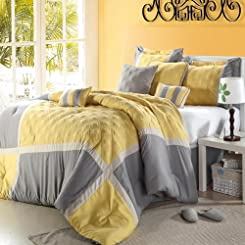 Quincy Yellow Comforter Bed In A Bag Set with Sheet Set 12 Piece