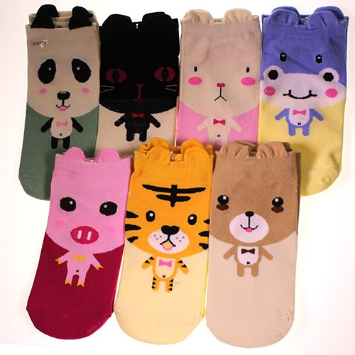 Ladies Women Children Patterned Animal Pet Creature Cute Trainer Socks Pack Of 7 In Assorted Colours By Kurtzy Tm front-300608