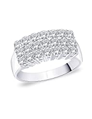 Peora Sterling Silver Rhodium Plated Men's Splendid 3 Row CZ Ring (PR2106)