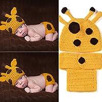 yazi Yellow Deer Giraffe Crochet Knit Costume Set Newborn Infant Photography Props Baby Shower Gift from Happyness2014