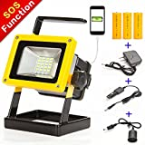 Sunzone 1600Lumens 10W 24LED Portable Outdoor LED Floodlight For Fishing Camping Car Repairing Work Lights Built-in Rechargeable Lithium Batteries with Car Charger and Special SOS Mode