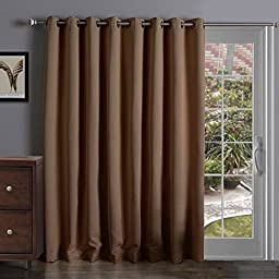 Onlycurtain Thermal Insulated Extra Wide Blackout Patio Door Curtain Panel, Sliding Door Curtains Grommet Ring Top 100W x 84L Inches - Chocolate