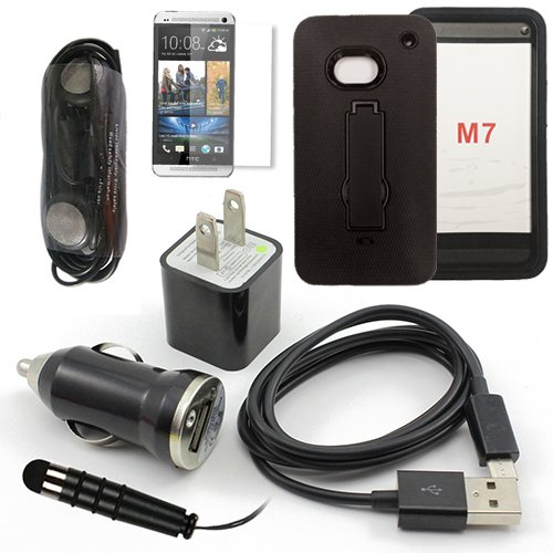 Htc One (All Carriers) Black Rugged Impact Ressistant Case, Usb Car Charger Plug, Usb Home Charger Plug, Usb 2.0 Data Cable, Metallic Stylus Pen, Stereo Headset & Screen Protector (7 Items) Retail Value: $89.95