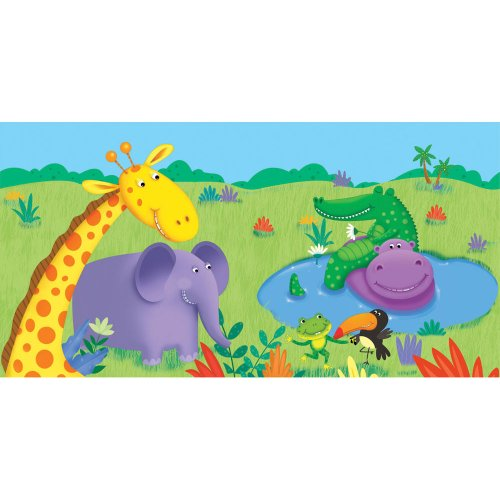 Creative Converting Jungle Buddies Plastic Table Cover, Rectangle 54 x 108""