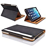 MOFRED� Black & Tan Apple iPad Air (2013-2014 Version) Leather Case-MOFRED�- Executive Multi Function Leather Standby Case for Apple iPad Air with Built-in magnet for Sleep & Awake Feature