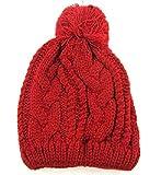 (アクト マインド) ACT MIND ポンポン ニット帽 メンズ レディース 帽子 シンプル 伸縮性 フリー サイズ ストリート ワッチキャップ ビーニーキャップ 小顔 (レッド)