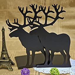 1pair Retro elk Nonskid Bookends black