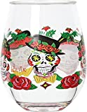 C.R. Gibson Sugar Skull Lolita Stemless Acrylic Wine Drinkware (Set of 2), Red