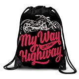 FUNKYLICIOUS Drawstring Polyester My way or the highway Design (Multicolour)