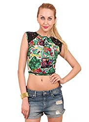 Hermosear Green Colored Printed Crop top