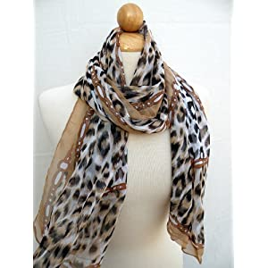 "Gorgeous Leopard Printing Scarf,Beautiful Black/Leopard Design -Italian Style Gorgeous Polyester Throughout w/Prints Leopard.Fashion,Styleable Perfect for Evening Party ,Soft Touch w/Convenient Size at 20"" W x 60"" L, Good for All Seasons. Satisfaction Guaranteed !"