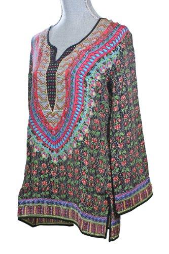cfd17538eb30a7 Tolani Black Salina Silk Tunic Top - Womens Tunics