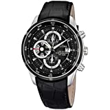 Festina Men's Crono F6821/3 Black Leather Quartz Watch with Black Dial