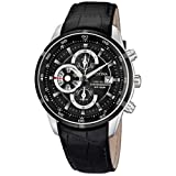 Festina Men's Quartz Watch with Black Dial Chronograph Display and Black Leather Strap F6821/3