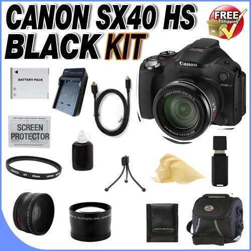 Canon Sx40 Hs 12.1Mp Digital Camera With 35X Wide Angle Optical Image Stabilized Zoom And 2.7-Inch Vari-Angle Wide Lcd + Extra Extended Life Nb10L Battery + Ac/Dc Rapid Charger + 67Mm Uv Filter + Lens Adapter + Super Wide Angle Lens + 2X Telephoto Lens +