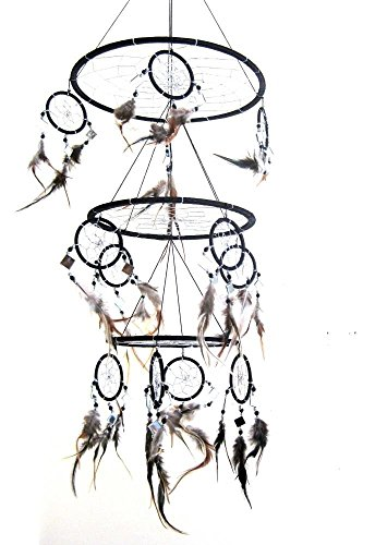 Dream Catcher Dreamcatcher Feather and Glass DreamCatcher Native American Decor, TRIPLE BLACK -X LARGE - 30