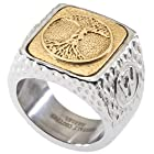 Unique Tree of Life Signet Ring. Platinum Style Surgical Stainless Steel with 18kt Gold Plating. RSS24TOL11