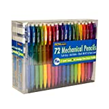 Tek Writer Mechanical Pencils 72 Refillable Pencils HB #2 0.7mm Lead, Plus 2 Lead Dipensers (220 refills) and 18 Refill Erasers