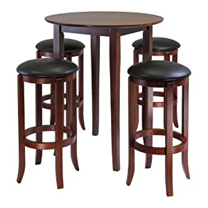Winsome Wood Fiona Round 5pc High Pub Table Set W Pvc Stools