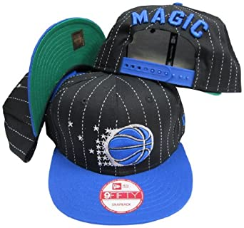 Orlando Magic Black Blue Two Tone Pinstripe Plastic Snapback Adjustable Plastic Snap... by New Era