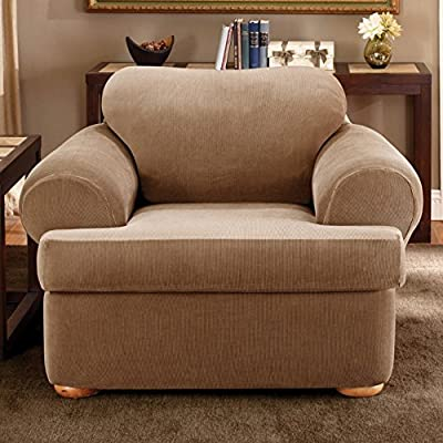 Sure Fit Stretch Stripe 2-Piece T Chair Slipcover