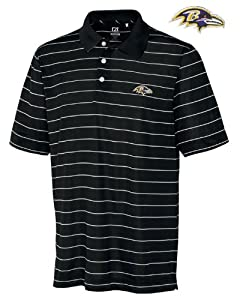 Baltimore Ravens Polo - Cutter & Buck Mens Drytec Sweeten Stripe Polo Black/White Large