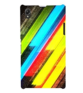 MODERN ART SLANTING LINES PATTERN IN A BLACK BACKGROUND 3D Hard Polycarbonate Designer Back Case Cover for Sony Xperia Z1 :: Sony Xperia Z1 L39h