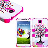 myLife (TM) Hot Pink - Tree of Love Design (3 Piece Hybrid) Hard and Soft Case for the Samsung Galaxy S4
