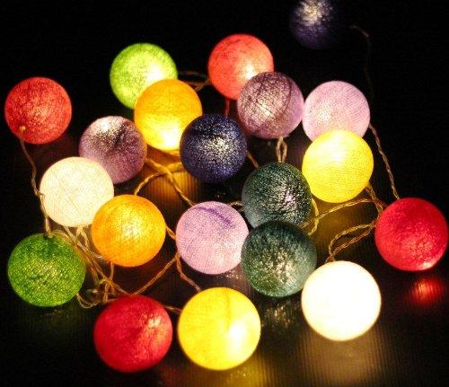 New Solar Powered Led Mixed Colours Cotton Ball Lantern Fairy Light String