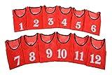[アスタルテ] ASTARTE 軽量速乾 番号 ビブス 7色 収納ポーチ セット (レッド 1番~12番セット)