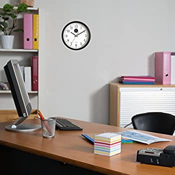 Analog Wall Clock with Anti-Scratch Plexi Glass Cover, Black with White Easy-to-Read Numbers, Silent Quartz - by Office Style