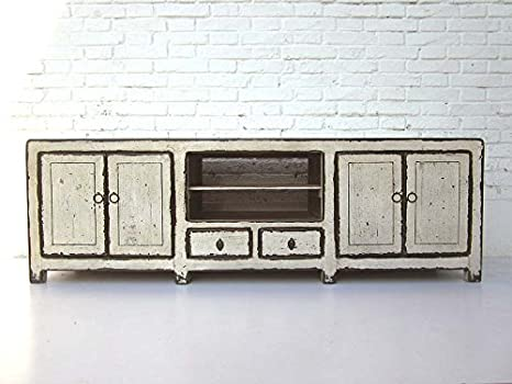 Chine shabby chic lowboard plat Buffet pour TV écran plat pin antikweiss