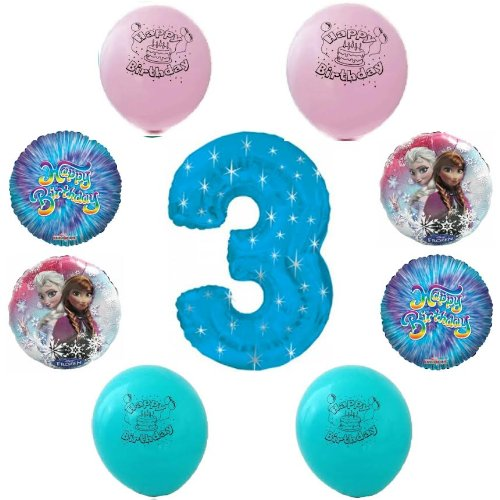 Disney frozen happy 3rd birthday party balloon decoration for Balloon decoration kit